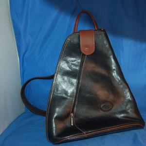 L'Artigiano Black Leather Back Pack Convertible